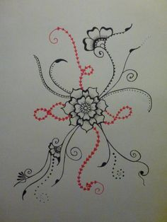 Red and black felt tip pen. Size A3
