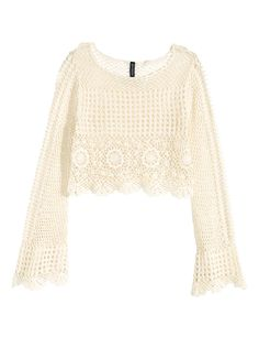 Check this out! Short crocheted sweater with long trumpet sleeves. Lace trim at cuffs and hem. - Visit hm.com to see more.