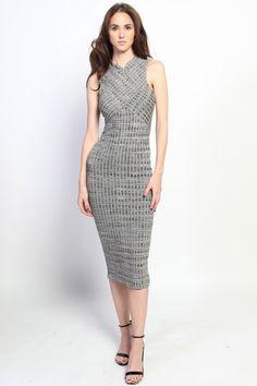 Mock Neck Sleeveless Bodycon Midi Dress