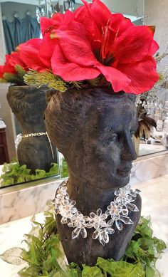 Add-on Item - Amaryllis in Glass Vase when Purchasing a Female Head Planter