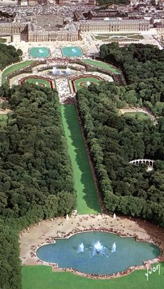 Aerial View of Versailles, France. Clearly a seriously large establishment.