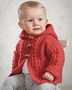 Jacka med huva pattern by Svarta Fåret jacke stricken junge Baby Boy Knitting Patterns, Baby Sweater Patterns, Baby Cardigan Knitting Pattern, Knit Baby Sweaters, Knitted Baby Clothes, Knitting For Kids, Baby Patterns, Free Knitting, Cardigan Bebe