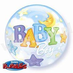 """Balon foliowy transparentny Bubble 22"""" (ok. 55cm) z dwustronnym nadrukiem Baby Boy."""