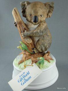 Gorham Musical Figurine Koala Bear Music Box Bisque Porcelain Plays Close To You