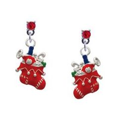 Red Christmas Stocking Red Swarovski Post Charm « Holiday Adds