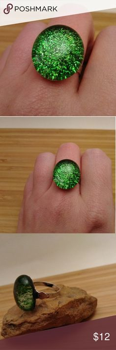 Green Glitter Explosion Glass Stone Ring Green Glitter Explosion Glass Stone Adjustable Ring -Silver band is nickel free! -Handmade -Unique and one of a kind! Jewelry Rings