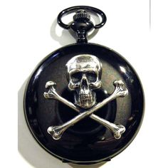 Steampunk Black Gun Metal and Silver Skull Pocket by tempusfugit, $49.99