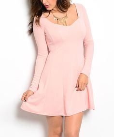 Look what I found on #zulily! Pink Square Neck Fit & Flare Dress by Buy in America #zulilyfinds