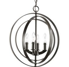"""View the Progress Lighting P3827 Equinox 4 Light 16"""" Wide Globe Chandelier with Movable Rings at Build.com."""