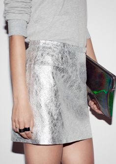 Metallic Silver Leather Skirt!!! /// & Other Stories