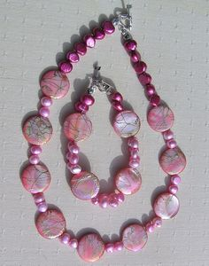 Necklace and Bracelet Set  Mother of Pearl and by SunnyCrystals, $37.50