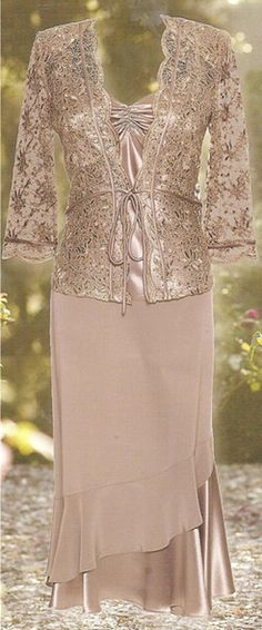 Lace Jacket Fully lined pretty skirt with flip on the bottom Camisole with beads v neck front high neck back Available in Tea rose, Mint and Lavender WAS $869