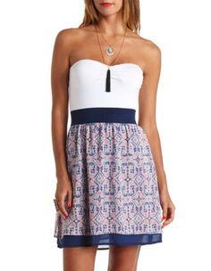 strapless color block tribal print dress