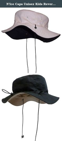 """N'Ice Caps Unisex Kids Reversible And Adjustable Cotton Twill Aussie Hat (56cm(22"""") 4-6yrs, black/tan). Sun Caps TM by Nice Caps unisex kids reversible cotton twill Aussie style hat with adjustable draw cord in back to allow hat to fit 3 size ranges. Easy to adjust elastic shoe string tie draw cord with lock adjusts up and down to fit 3 size ranges within the recommended age group. Elastic shoe string ties are also adjustable. Great hat for sun protection at the beack, for hiking…"""