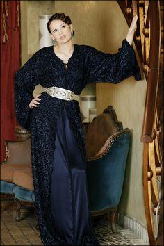 in Tangier Oriental Dress, Oriental Fashion, Moroccan Caftan, Moroccan Style, Abaya Fashion, Fashion Outfits, Satin Duchesse, Style Marocain, Morocco Fashion