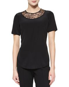 Short-Sleeve Lace-Inset Top, Black