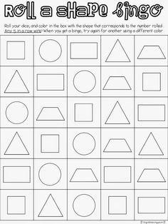 Roll a Shape Bingo {Freebie} First Grade Fanatics