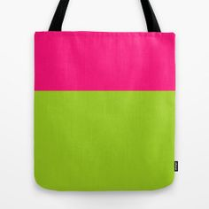 Color Block Tote Bag, Pink and Green Tote Bag, Women's Tote, 16 x 16 inch, Summer Tote Bag, Canvas Tote Bag