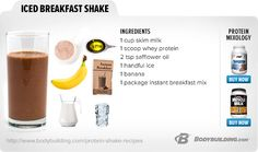 Best Protein Shake And Smoothie Recipes Iced Breakfast Shake: Great ideas, but need to modify. Not going to body build.Iced Breakfast Shake: Great ideas, but need to modify. Not going to body build. Best Protein Shakes, Protein Shake Recipes, Healthy Shakes, Protein Foods, Smoothie Recipes, Coffee Nutrition, Kids Nutrition, Healthy Smoothies, Healthy Drinks