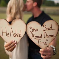 He asked she said about damn time! These are fantastic for engagement photos! Supplies are limited don't miss out on this fabulous wood wedding ideas Engagement photo props Engagement Photo Props, Engagement Shoots, Wedding Engagement, Our Wedding, Dream Wedding, Engagement Ideas, Trendy Wedding, Wedding Favors, Funny Engagement Photos