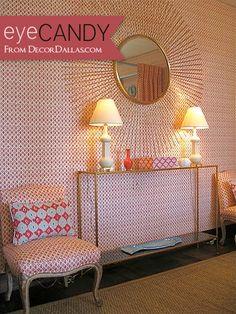 sister parish Colorful Wallpaper, Wall Wallpaper, Celerie Kemble, Brass Side Table, Starburst