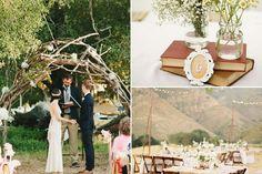 deco-mariage-champetre-arche-branches-tressées-déco-table-fleurs-champ-livres