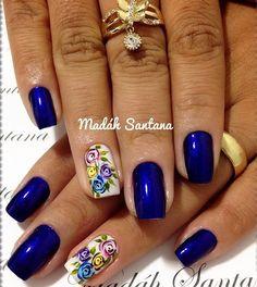 Blue Design, Spring Nails, Pretty Nails, Nail Designs, Roses, Nail Art, Makeup, Hair, Beauty