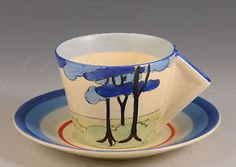 clarice cliff BLUE FIRS CONICAL CUP & SAUCER C.1933 in Pottery, Porcelain & Glass, Pottery, Clarice Cliff, Decorative/ Ornamental | eBay