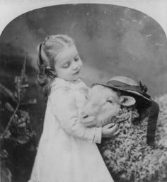 1877 Stereoview: Small girl and a sheep with a hat