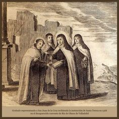 c1568 San Juan de la Cruz recibiendo la instrucción de Santa Teresa en Carmelitas Descalzas, Sepulcro de Santa Teresa