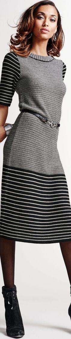 Madeleine Knit Dress in Black/Wool White