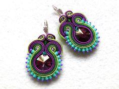 Soutache Earrings Colorful Swarovski Elegant Ethno by KCSoutache