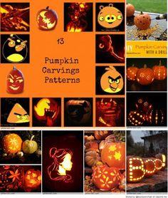 Pumpkin Carving Patterns, Boo! http://womanofmanyroles.com/13-pumpkin-carving-patterns/