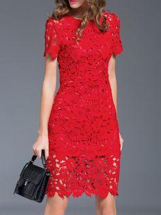 Vestito Tubino Perforato Uncinetto - Rosso