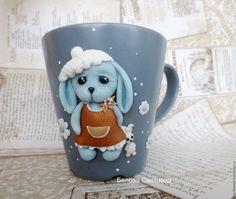 Купить Кружка Зайка моя 1 из полимерной глины - голубой, белый, бежевый, кружка
