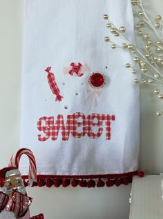 """Sweet"" Tea Towel made with the #Cricut!"