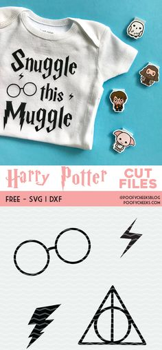Harry Potter Harry Potter inspired cut files for Silhouette and Cricut cutting machines. - Harry Potter inspired cut files for use with Silhouette and Cricut cutting machines. Glasses, lightening bolt plus free Harry Potter font. Harry Potter Shirts, Harry Potter Font Free, Images Harry Potter, Harry Potter Onesie Baby, Disney Fantasy, Silhouette Cameo, Silhouette Projects, Brother Plotter, Clem