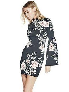 Luba Pleated-Sleeve Dress | shop.GUESS.com