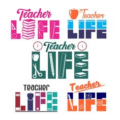 Teacher Life Cuttable Design Cut File. Vector, Clipart, Digital Scrapbooking Download, Available in JPEG, PDF, EPS, DXF and SVG. Works with Cricut, Design Space, Sure Cuts A Lot, Make the Cut!, Inkscape, CorelDraw, Adobe Illustrator, Silhouette Cameo, Brother ScanNCut and other compatible software.