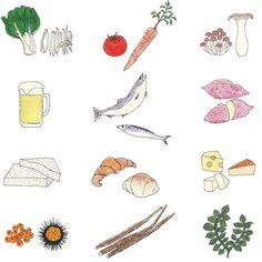 #雑誌anan1988号 食べ物たくさん描いたたのしかった 意外に魚介を描くのがおもしろかったヤーてなってるのはシャケだよお気に入り by maegamimami