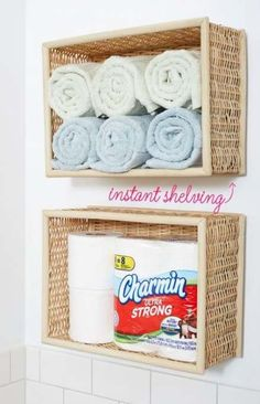 Bathroom organization diy storage dollar stores 18 ideas for 2019 Diy Bathroom, Bathroom Wall Decor, Diy Wall Decor, Home Decor, Bathroom Storage, Bathroom Ideas, Bathroom Closet, Small Bathroom, Bathroom Shelves