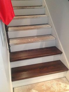 From Carpet to Wood Stairs Redo - Cheater Version. DIY From Carpet to Beautiful Wood Stairs - Cheater Version. Very Low Cost low Effort High Impact Home Update! Redo Stairs, Basement Stairs, Stair Redo, Basement Ideas, Basement Decorating, Decorating Ideas, Basement Bathroom, Basement Carpet, Basement Designs