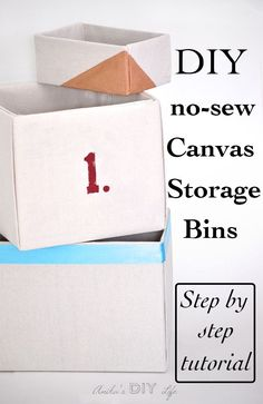 This is the best step by step tutorial for making no-sew fabric wrapped storage boxes. Drop cloth covered boxes make great canvas storage bins. Fabric Storage Bins, Diy Storage, Diy Organization, Storage Boxes, Storage Baskets, Clothes Storage, Storage Organizers, Storage Racks, Decorative Storage