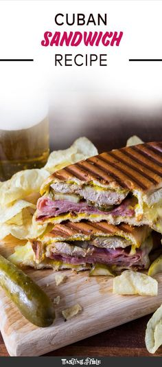 Packed with two kinds of pork, cheese and plenty of pickles (Sandwich Recipes) Cuban Recipes, Roast Recipes, Cooking Recipes, Cooking Ideas, Soup And Sandwich, Sandwich Recipes, Sandwich Board, Sandwich Ideas, Antipasto