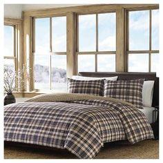 Port Gamble Plaid Comforter And Sham Set Navy - Eddie Bauer®