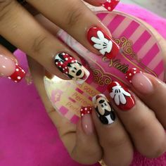 Disney pedicure ideas mickey mouse 42 Ideas for 2019 Minnie Mouse Nail Art, Mickey Mouse Nails, Cartoon Nail Designs, Red Nail Designs, Disney Acrylic Nails, Pink Acrylic Nails, Square Nail Designs, Hot Nails, Bling Nails