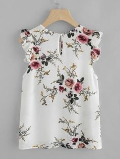 Blouse Summer Women Floral Print Butterfly Sleeve Blouse Crop Tops Chiffon Sleeveless ONeck Color Blouse Femmes Tops Et Blouses Floral Blouse, Floral Tops, Floral Prints, Shell Tops, Outfit Trends, Beautiful Blouses, Look Chic, Mode Style, Summer Tops