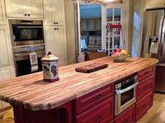 Tx Pecan edge grain custom wood island top.