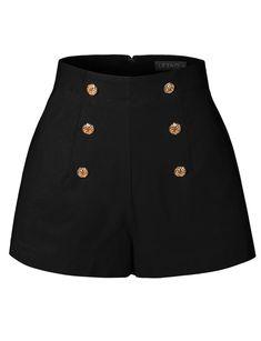 Womens High Waisted Front Button Retro Vintage Pin Up Sailor Shorts with Pockets Kpop Fashion Outfits, Stage Outfits, Edgy Outfits, Mode Outfits, Cute Casual Outfits, Casual Chic, Fashion Shorts, Womens Fashion, Egirl Fashion