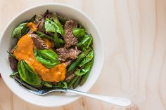 Beef and basil stir-fry with peanut sauce